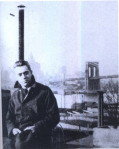 Hart Crane on the roof at 110 Columbia Heights, Brooklyn, 1924.